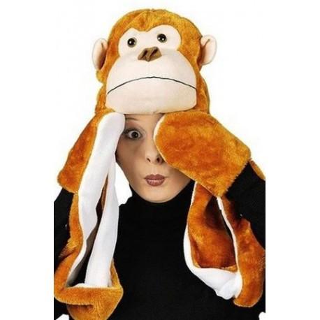 Bonnet singe avec écharpe intégrée