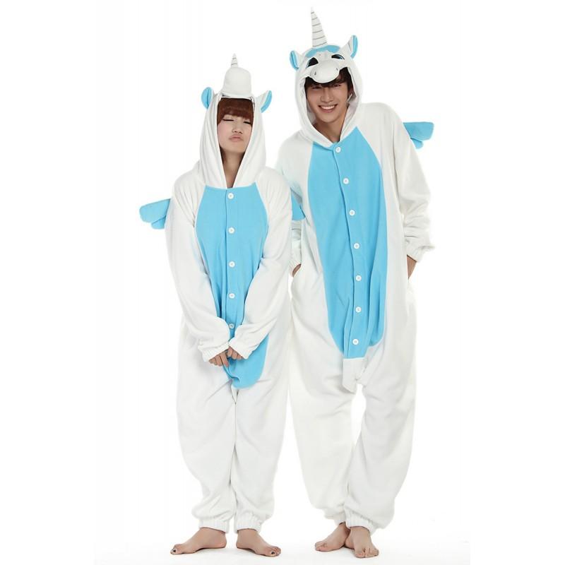 pyjama licorne blanc et bleu grenouill re licorne pour adulte femme homme. Black Bedroom Furniture Sets. Home Design Ideas