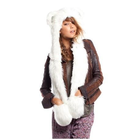 Bonnet Fourrure Ours polaire avec écharpe intégrée | Taille Unique : Homme / Femme / Enfant