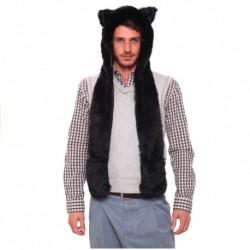 Bonnet Fourrure Loup Noir